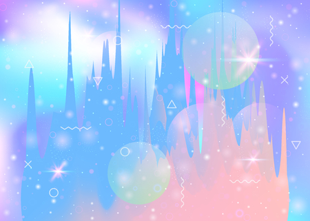 Abstract landscape with holographic cosmos and future universe background. 3d fluid. Liquid mountain silhouette with wavy glitch. Futuristic gradient and shape. Memphis abstract landscape.
