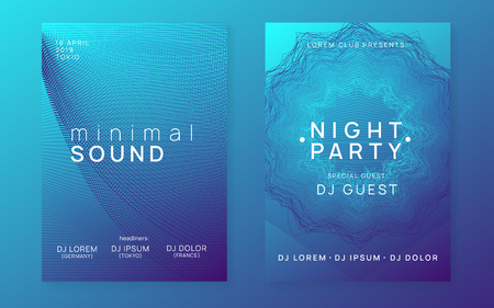 Music fest. Modern discotheque invitation set. Dynamic gradient shape and line. Music fest neon flyer. Electro dance. Electronic trance sound. Techno dj party. Club event poster.