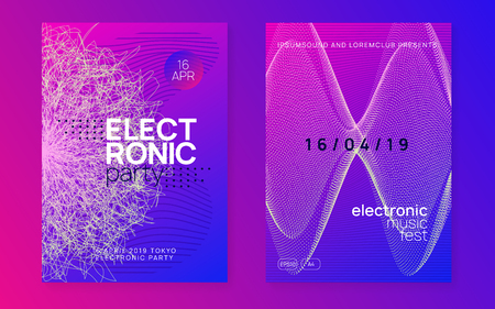 Dance flyer. Curvy discotheque brochure set. Dynamic gradient shape and line. Neon dance flyer. Electro trance music. Techno dj party. Electronic sound event. Club fest poster. Ilustrace