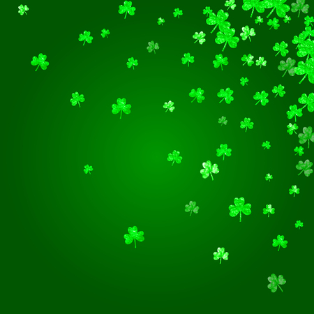 Saint patricks day background with shamrock. Lucky trefoil confetti. Glitter frame of clover leaves. Template for party invite, retail offer and ad. Festal saint patricks day backdrop.