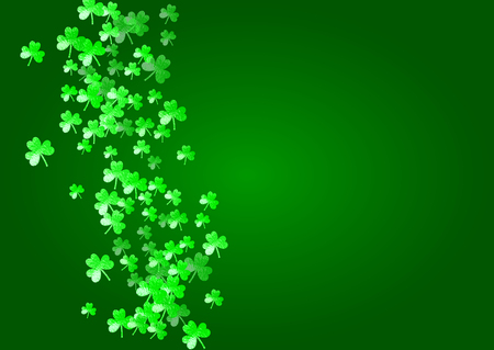 Saint patricks day background with shamrock. Lucky trefoil confetti. Glitter frame of clover leaves. Template for voucher, special business ad, banner. Happy saint patricks day backdrop.