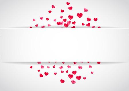 Hart papieren label voor Valentijnsdag met glitter. 14 februari dag. Vector confetti voor hart papieren labelsjabloon. Grunge hand getrokken textuur. Liefdesthema voor poster, cadeaubon, banner.