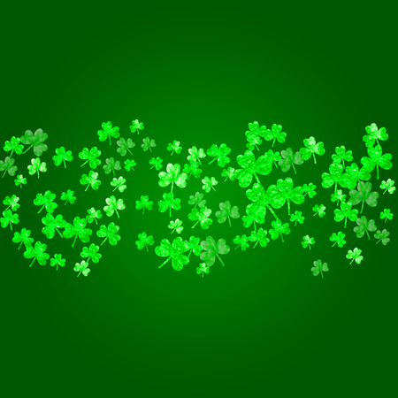 Saint patricks day background with shamrock. Lucky trefoil confetti. Glitter frame of clover leaves. Template for gift coupons, vouchers, ads, events. Decorative saint patricks day backdrop. Ilustração