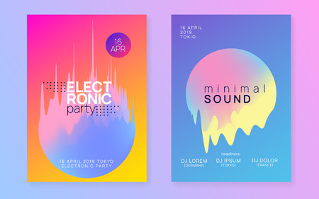 Summer music set. Fluid holographic gradient shape and line. Abstract trance club invitation layout. Electronic sound. Night dance lifestyle holiday. Fest poster and flyer for summer music. Illustration
