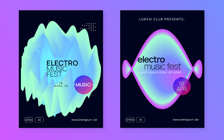 Music fest set. Abstract house concert magazine design. Electronic sound. Night dance lifestyle holiday. Fluid holographic gradient shape and line. Summer poster and music fest flyer. Illustration