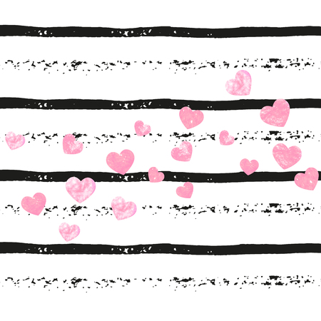 Wedding glitter confetti with hearts on black stripes. Shiny random falling sequins with sparkles. Design with pink wedding glitter for greeting card, bridal shower and save the date invite.