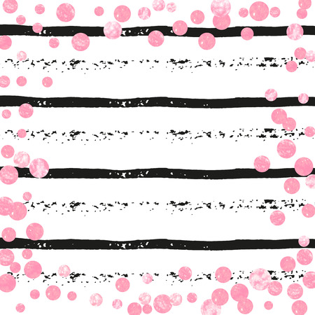 Wedding glitter confetti with dots on black stripes. Random falling sequins with metallic shimmer. Design with pink wedding glitter for party invitation, banner, greeting card, bridal shower.