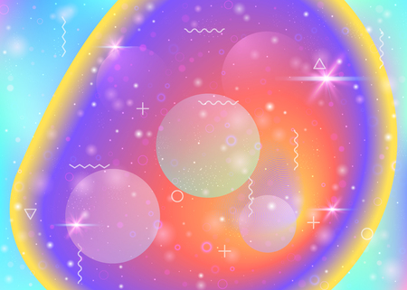 Universe background with galaxy and cosmos shapes and star dust. Fantastic space landscape with planets. 3d fluid with magic sparkles. Holographic futuristic gradients. Memphis universe background. Ilustração