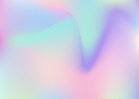 Holographic abstract background. Minimal holographic backdrop with gradient mesh. 90s, 80s retro style. Iridescent graphic template for placard, presentation, banner, brochure. Stock Illustratie