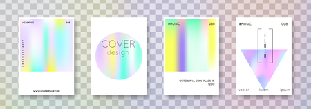 Geometric cover set. Abstract backgrounds. Neon geometric cover with gradient mesh 90s, 80s retro style. Pearlescent graphic template for brochure, banner, wallpaper, mobile screen