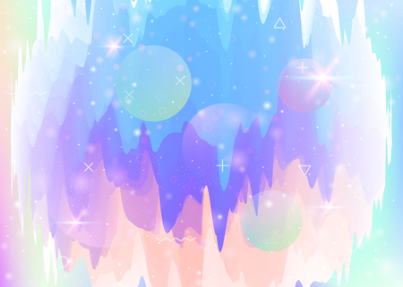Abstract landscape with holographic cosmos and future universe background. Plastic mountain silhouette with wavy glitch. Futuristic gradient and shape. 3d fluid. Memphis abstract landscape.