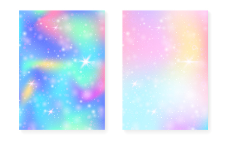 Princess background with kawaii rainbow gradient. Magic unicorn hologram. Holographic fairy set. Spectrum fantasy cover. Princess background with sparkles and stars for cute girl party invitation.