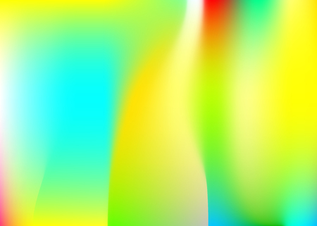 Holographic abstract background. Multicolor holographic backdrop with gradient mesh. 90s, 80s retro style. Pearlescent graphic template for placard, presentation, banner, brochure.