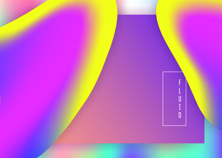 Liquid fluid. Vivid gradient mesh. Holographic 3d backdrop with modern trendy blend. Pop interface, mobile design. Liquid fluid with dynamic elements and shapes. Landing page.