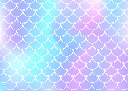 Gradient Meerjungfrau Hintergrund mit holographischen Skalen. Helle Farbübergänge. Fischschwanzbanner und Einladung. Unterwasser- und Meeresmuster für Girlie-Party. Bunte Kulisse mit Farbverlauf Meerjungfrau.