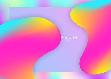 Landing page. Vivid gradient mesh. Circle screen, mobile layout. Holographic 3d backdrop with modern trendy blend. Landing page with liquid dynamic elements and fluid shapes.