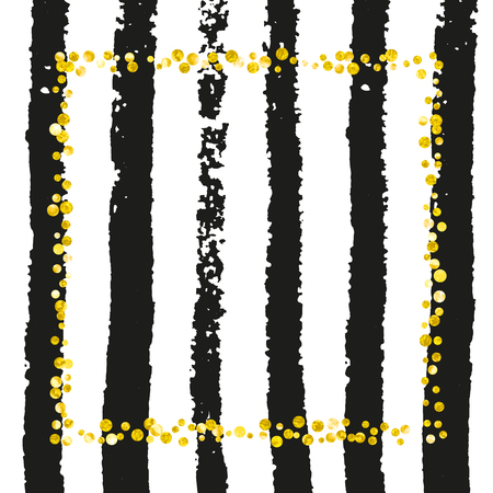 Wedding glitter confetti with dots on black stripes. Random falling sequins with metallic shimmer. Template with gold wedding glitter for greeting card, bridal shower and save the date invite. Stock Illustratie