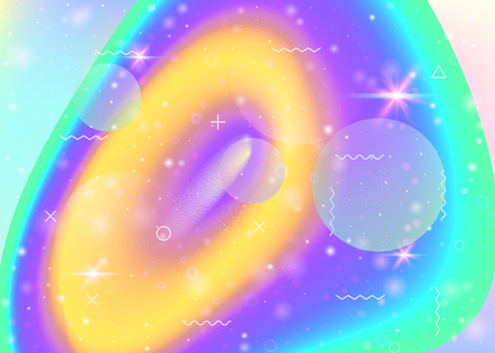 Vibrant gradients on rainbow background. Holographic dynamic fluid. Cosmos hologram. Design layout for cover, banner and poster. Cute vibrant gradients.