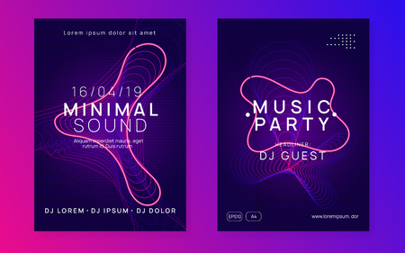 Music flyer. Dynamic gradient shape and line. Creative discotheque invitation set. Neon music flyer. Electro dance dj. Electronic sound fest. Techno trance party. Club event poster. Stock Illustratie