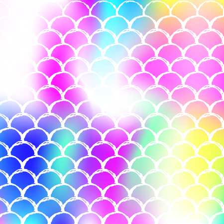 Mermaid scales background with holographic gradient. Bright color transitions. Fish tail banner and invitation. Underwater and sea pattern for girlie party. Spectrum backdrop with mermaid scales. Stock Illustratie