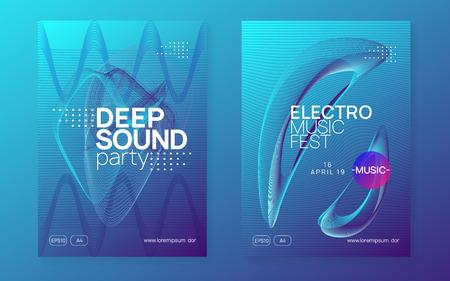 Dj event. Dynamic gradient shape and line. Curvy show brochure set. Dj event neon flyer. Techno trance party. Electro dance music. Electronic sound. Club fest poster.