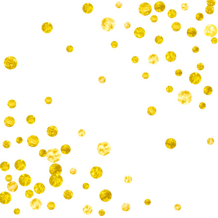 Gold glitter dots confetti on isolated backdrop. Shiny random falling sequins with sparkles. Template with gold glitter dots for party invitation, event banner, flyer, birthday card. Stock Illustratie