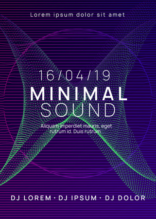 Dj party. Dynamic gradient shape and line. Futuristic discotheque banner template. Neon dj party flyer. Electro dance music. Techno trance. Electronic sound event. Club fest poster. Stockfoto - 124930642