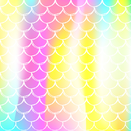 Gradient mermaid background with holographic scales. Bright color transitions. Fish tail banner and invitation. Underwater and sea pattern for girlie party. Colorful backdrop with gradient mermaid.