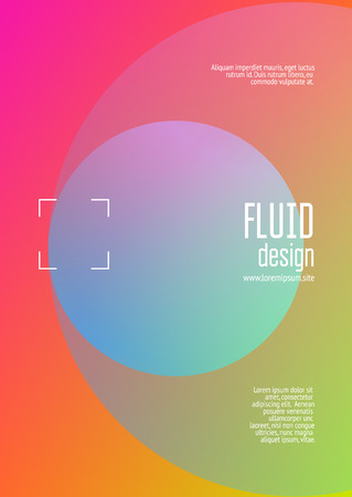 Holographic fluid with radial circles. Geometric shapes on gradient background. Modern hipster template for poster, covers, banners, flyers, report, brochure. Minimal holographic fluid in neon colors.