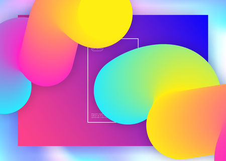 Liquid fluid. Holographic 3d backdrop with modern trendy blend. Minimal screen, interface template. Vivid gradient mesh. Liquid fluid with dynamic elements and shapes. Landing page. Stock Illustratie