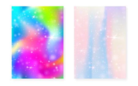 Princess background with kawaii rainbow gradient. Magic unicorn hologram. Holographic fairy set. Fluorescent fantasy cover. Princess background with sparkles and stars for cute girl party invitation.