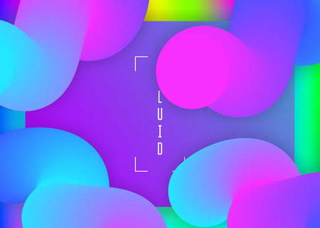 Landing page. Vivid gradient mesh. Holographic 3d backdrop with modern trendy blend. Cool banner, mobile design. Landing page with liquid dynamic elements and fluid shapes. Stock Illustratie
