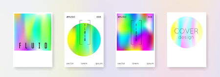 Fluid poster set. Abstract backgrounds. Spectrum fluid poster with gradient mesh. 90s, 80s retro style. Iridescent graphic template for placard, presentation, banner, brochure.