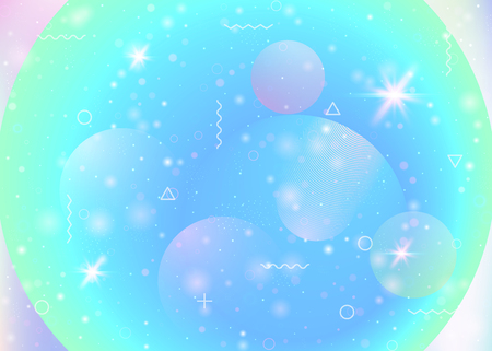 Galaxy background with cosmos and universe shapes and star dust. 3d fluid with magic sparkles. Holographic futuristic gradients. Fantastic space landscape with planets. Memphis galaxy background. Ilustração