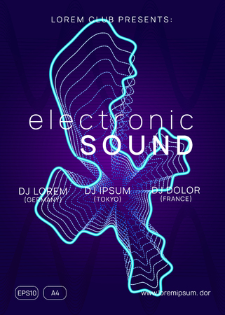Electro event. Geometric concert brochure template. Dynamic gradient shape and line. Electro event neon flyer. Trance dance music. Electronic sound. Club fest poster. Techno dj party. Stockfoto - 124930657