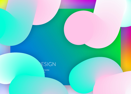 Landing page. Soft interface, banner frame. Vivid gradient mesh. Holographic 3d backdrop with modern trendy blend. Landing page with liquid dynamic elements and fluid shapes. Stock Illustratie