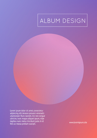 Fluid poster with round shapes. Gradient circles on holographic background. Modern hipster template for placards, covers, banners, flyers, presentations, annual. Minimal fluid poster in neon colors. Stock Illustratie