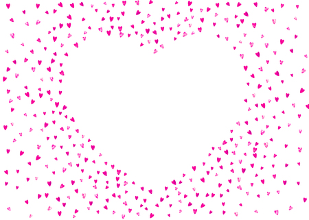 Valentines day card with pink glitter hearts. February 14th. Vector confetti for valentines day card template. Grunge hand drawn texture. Love theme for party invite, retail offer and ad.