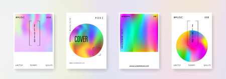 Geometric cover set. Abstract backgrounds. Bright geometric cover with gradient mesh 90s, 80s retro style. Iridescent graphic template for book, annual, mobile interface, web app.