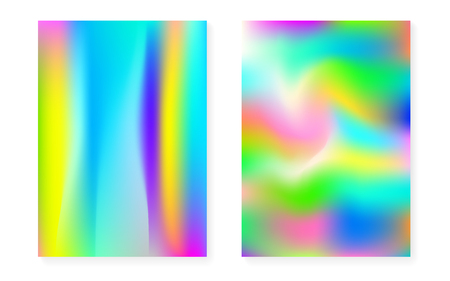 Holographic gradient background set with hologram cover. 90s, 80s retro style. Iridescent graphic template for brochure, banner, wallpaper, mobile screen. Stylish minimal holographic gradient. Stock Illustratie