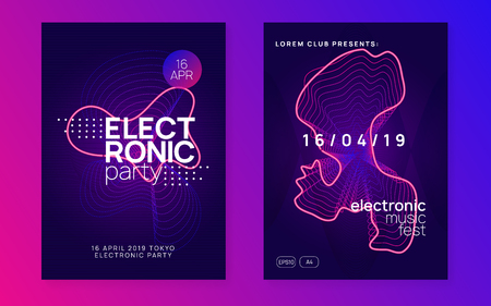 Music flyer. Dynamic gradient shape and line. Geometric discotheque invitation set. Neon music flyer. Electro dance dj. Electronic sound fest. Techno trance party. Club event poster.