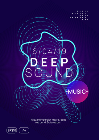 Music poster. Dynamic gradient shape and line. Curvy concert magazine layout. Neon music poster. Electro dance dj. Electronic sound fest. Club event flyer. Techno trance party.