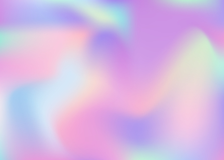 Holographic abstract background. Plastic holographic backdrop with gradient mesh. 90s, 80s retro style. Iridescent graphic template for brochure, banner, wallpaper, mobile screen. Stock Illustratie