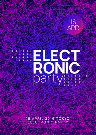 Trance party. Abstract concert cover concept. Dynamic gradient shape and line. Neon trance party flyer. Electro dance music. Electronic sound. Club dj poster. Techno fest event. Stockfoto - 124846795