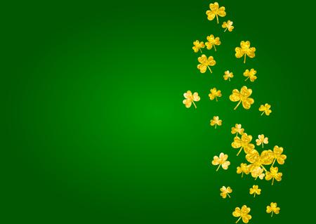 Shamrock background for Saint Patricks Day.  Lucky trefoil confetti. Glitter frame of clover leaves. Template for voucher, special business ad, banner. Festal shamrock background.
