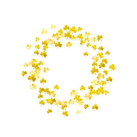 Clover background for Saint Patricks Day. Lucky trefoil confetti. Glitter frame of shamrock leaves. Template for poster, gift certificate, banner. Happy clover background. Stock Illustratie