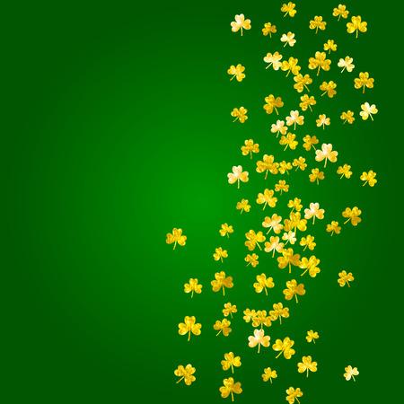 Shamrock background for Saint Patricks Day. Lucky trefoil confetti. Glitter frame of clover leaves.  Template for gift coupons, vouchers, ads, events. Greeting shamrock background.