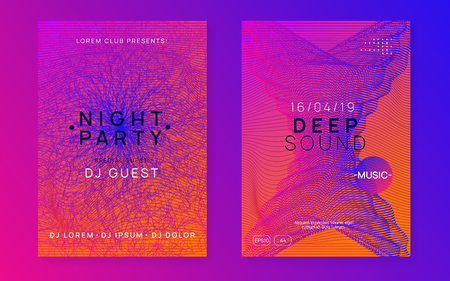 Sound flyer. Modern show brochure set. Dynamic gradient shape and line. Neon sound flyer. Electro dance music. Electronic fest event. Club dj poster. Techno trance party.