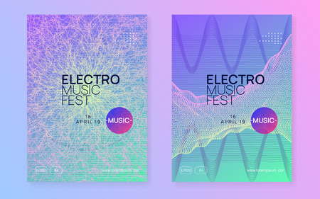 Music fest. Modern discotheque brochure set. Dynamic gradient shape and line. Music fest neon flyer. Electro dance. Electronic trance sound. Techno dj party. Club event poster.