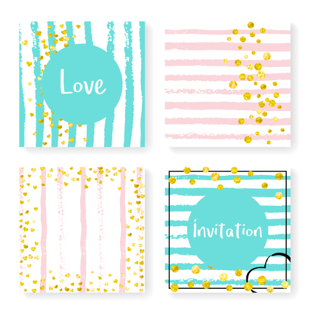 Wedding stripes with glitter confetti. Invitation set. Gold hearts and dots on pink and mint background. Design with wedding stripes for party, event, bridal shower, save the date card.